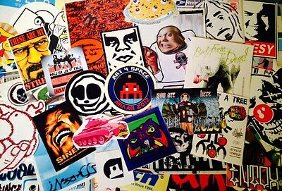 10 Vinyl Street Art-Graffiti Stickers-Obey-Space Invader Pack-Hellaflux-Pegatina