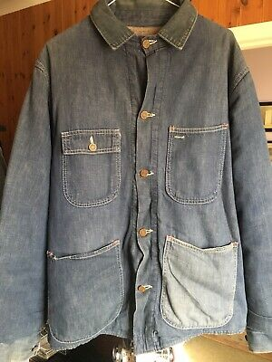 Vintage Blue Denim Blanket Lined US Chore Jacket,cord Collar,Size;- 40.