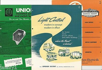 1954 ELECTRICAL Distribution WIRING Systems SUPERIOR FA UNION 3 VTG Catalog LOT