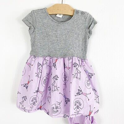 Baby Gap Infant Girl Gray Purple Scooter Jump Rope Twirl Dress Size 18-24 Months