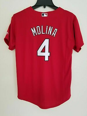 558392c5540b9 NWT Yadier Molina St. Louis Cardinals Majestic Cool Base Youth L Red Jersey