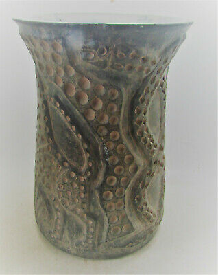 Scarce Circa 200Bc-200Ad Ancient Bactrian Chlorite Stone Vessel With Snake Motif