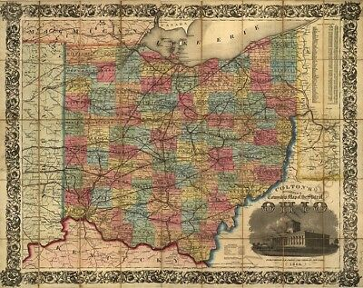 Railroad & township map of Ohio c1854 map 30x24