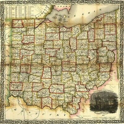 Railroad & township map of Ohio c1854 map 24x24