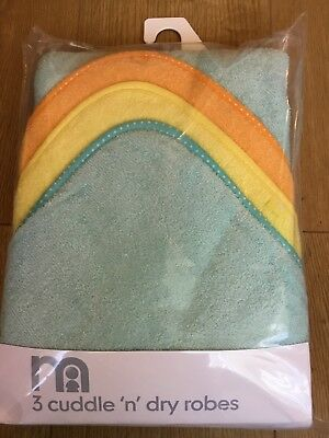 Mothercare Set Of 3 Baby Boys / Girls Cuddle N Dry Robes / Towels Bnip