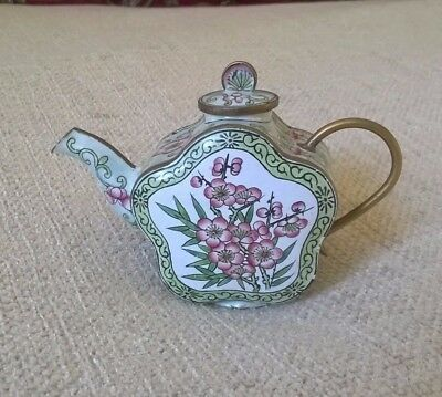 Vintage Old Chinese Cloisonne Enamel Teapot Pale Green Cherry Blossom