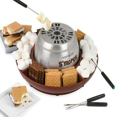 Nostalgia Electric Stainless Steel S'mores Maker, BPA Free 42-Inch Cord