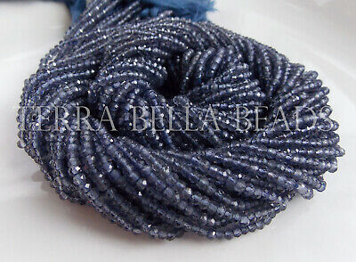 """16"""" strand AAA blue IOLITE faceted gem stone rondelle beads 2.5mm water sapphire"""