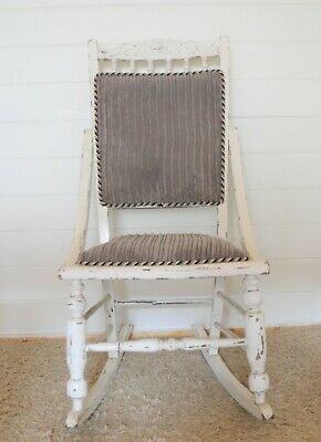 Unusual Vintage Rocking Chair Upholstered Furniture Upcycled, Shabby Chic