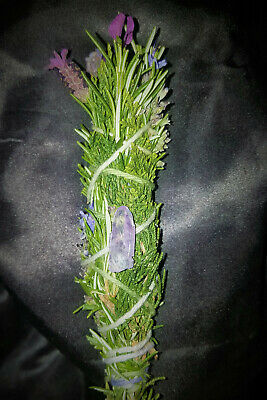 "Lavender Cedar Rosemary Incense Smudge Stick 6"", Blessed, Quartz Crystal, Reiki!"