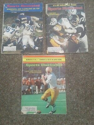 Lot (3) Vintage Football Sports Illustrateds Franco Harris Good Condition