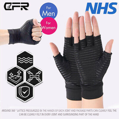 Copper Compression Gloves Medical Graded Open Finger Hand Pain Relief Arthritis