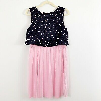 NEW Crewcuts J Crew Girls Tulle Skirted Confetti Dress Size 16 Pink Blue