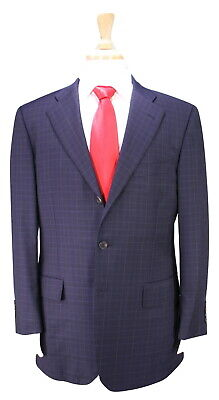 * PAUL STUART * Recent Navy Blue Checkered 3-Btn Modern Fit Wool Suit 40R