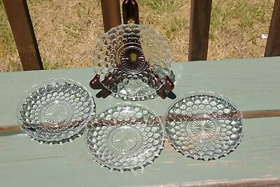 Vintage Anchor Hocking Clear Crystal Hobnail Bubble Glass Saucers Set of 4