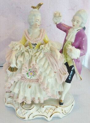 """Vintage DRESDEN Porcelain Lace Man and Woman Figurines, 9"""" Tall x 7"""" Wide"""