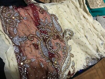 02fae2cdfd Exotic Gold Corset Embroidered Sequin Lace Indian Sari Saree Bridal Wedding  Gown