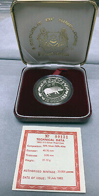 1983 Singapore $10 Silver Zodiac - Year of the Pig Proof Silver W/Case & COA