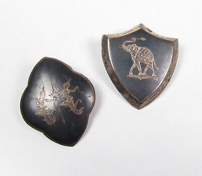 Lot of 2 1930s Siam Sterling Silver Dancers & Elephant Shield Brooch Pin Vintage
