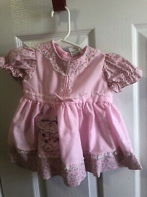 Pink Floral Lace Frilly Dress Baby Girls 12 months 12m Vintage