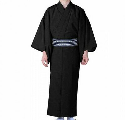 Japanese Traditional Mens Unlined Summer Kimono Pongee Fabric BLK Japan Tracking