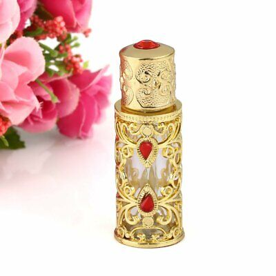 Vintage Golden Empty Refillable Crystal Glass Perfume Bottle Stopper Lady Gift