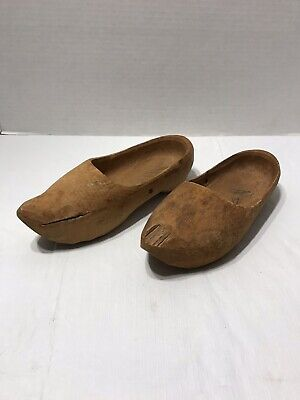 """Antique Hand Carved  8"""" Small Wooden Dutch Shoes Clogs"""