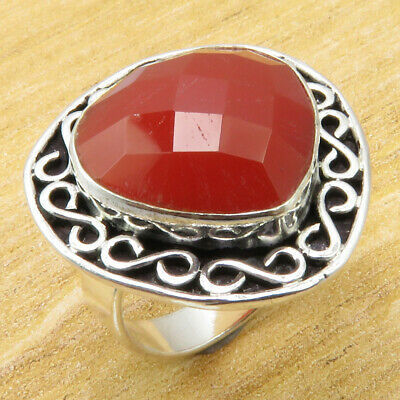 Carnelian Fancy Stone ! 925 Silver Plated OLD STYLE Ring Size 6.5 ONLINE STORE