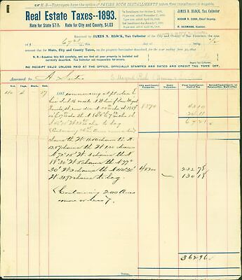Real Estate Taxes - 1893 - for City & County of San / Adolph Sutro #144985