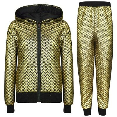 Kids Girls Golden Tracksuit Shiny Quilted Hooded Top Bottom Jogging Suit Jogger