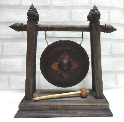 Thai Old Traditional Bronze  Gong  Mallet&stand Teak Wood Carved Famous &luck