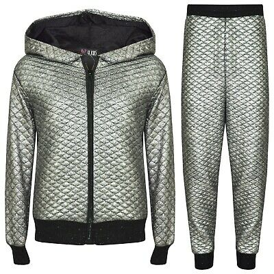 Kids Girls Silver Tracksuit Shiny Quilted Hooded Top Bottom Jogging Suit Jogger.
