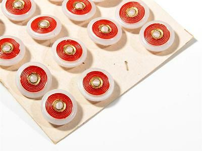 Card (23) 18mm vintage Deco Czech red gold gilt hand painted white glass buttons