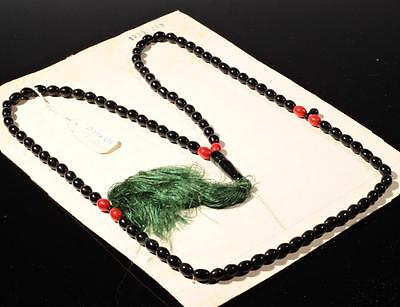 Vintage Czech 99 oval teardrop tube black red glass beaded Islamic prayer strand
