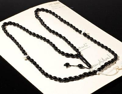 Vintage Czech 99 oval pear tube black white glass beaded Islamic prayer strand