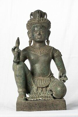 19th Century Antique Unusual Seated Bronze Shiva Statue - 44cm/18""