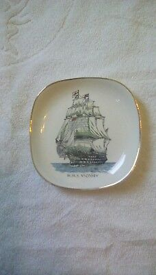 Lord Nelson Pottery Plate Hms  Victory  13Cm Across Vgc