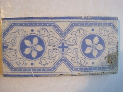 "Antique Victorian 6"" X 3"" Blue On White Aesthetic Print Border Tile"