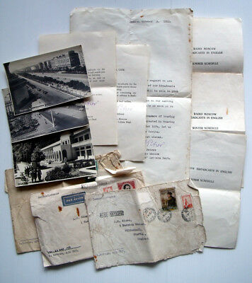 1950s RADIO MOSCOW LETTERS/PHOTOS~WILLENHALL~USSR/STALIN/COLD WAR/LW/STAMPS/PC