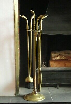 Delightful French Antique Brass Duck Head 4 Piece Fireplace Set On Stand 1238