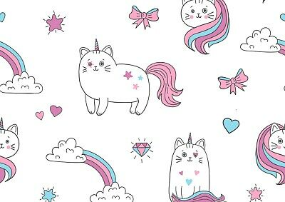 Awesome Unicorn Cat Poster Print Size A4 / A3 Kids Fantasy Art Poster Gift #8530