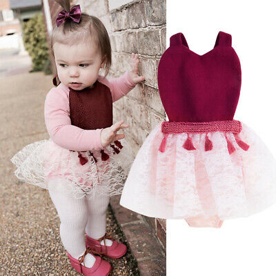 AU Cute Newborn Baby Girls Romper Tulle Tutu Skirt Dress Outfits Clothes Easter