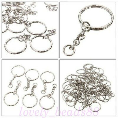 LOTS Keyring Silver Split Rings With 4 Link Chain DIY Keychains Making Accessory