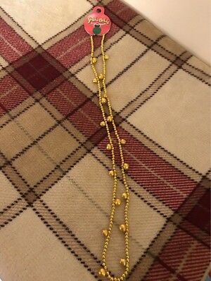 Fancy Dress Costume Christmas Jewellery Necklace Jingle Bell ~ Gold Colour