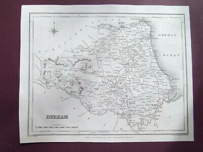"DURHAM ANTIQUE MAP DATED 1840 LEWIS TOPOGRAPHICAL DICTIONARY 7""x9 EXCELLENT COND"