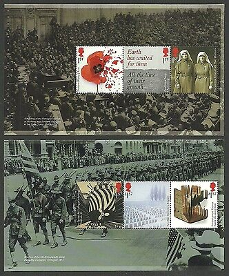 Gb 2017 The Great War Military Ships Nurses Poppies Booklet Panes Mnh