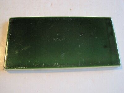 "ANTIQUE VICTORIAN GREEN 6"" x 3"" WALL TILE - GEO. WOOLISCROFT & SONS c1900"