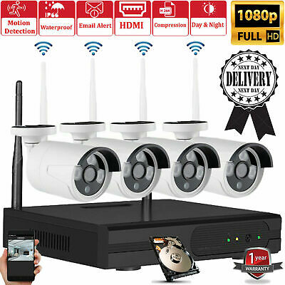 1080p 4CH WiFi CCTV Full HD Wireless system Outdoor 2.0MP IP Cameras NVR kit HDD