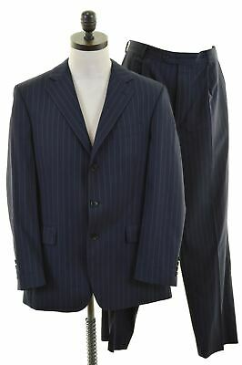 AUSTIN REED Mens 2 Piece Suit Size 40 Large W34 L31 Navy Blue Striped Wool  JP04