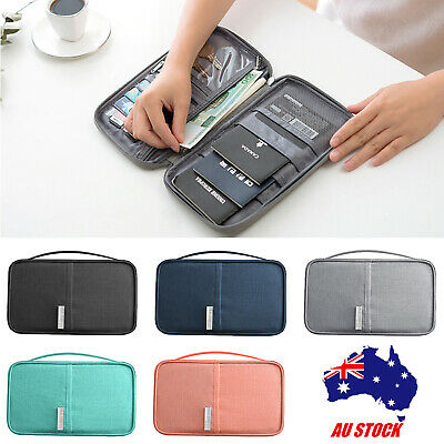 Travel Wallet Passport Holder Document Organizer Bag Pouch for Cards Money ID AU